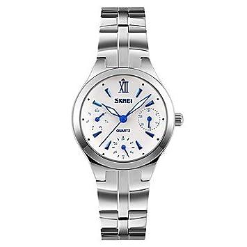 Relojes Hermosos, SKMEI Mujer Reloj de Pulsera Cuarzo Acero Inoxidable Banda Plata (Color :