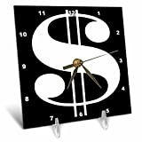 3dRose White Dollar Sign Against A black Background - Desk Clock, 6 by 6-Inch (dc_45409_1)