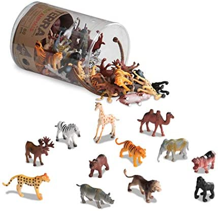 Terra by Battat – Wild Animals – Assorted Miniature Wild Animal Toys & Cake Toppers For Kids 3+ (60 Pc)