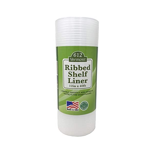 612 Vermont 12″ x 40′ Clear Ribbed, Waterproof, Non-Adhesive Plastic Shelf Liner for Use in Kitchen Cabinets, Pantry, Wire Shelves, Under Sink, Refrigerators and More.