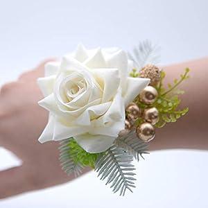 Prettybuy Bridal Wrist Flower Corsage with Pearl Bracelet Wedding Flower Hand Flower Handmade Elastic Band Pack of 2 17