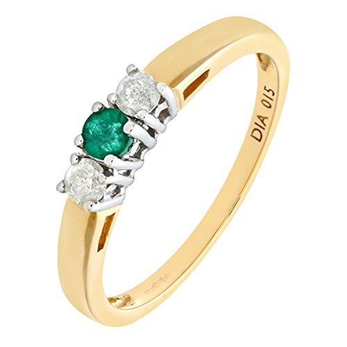 Bague Femme - Or jaune (9 carats) 2.2 Gr - Emeraude - Diamant 0.28 Cts