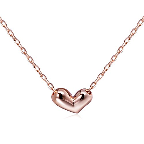 Mini Heart Necklace 925 Sterling Silver Heart Pendant Necklace Floating Tiny Necklace (rose gold) (Heart Tiny Chain)