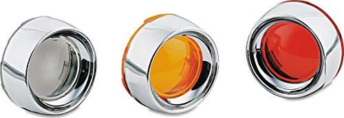 Kuryakyn 2108 Motorcycle Lighting Accessory: Deep Dish Bezel for 2000-19 Harley-Davidson Motorcycles with Bullet Turn Signal/Blinker Lights, Amber Lens, Chrome, 1 Pair