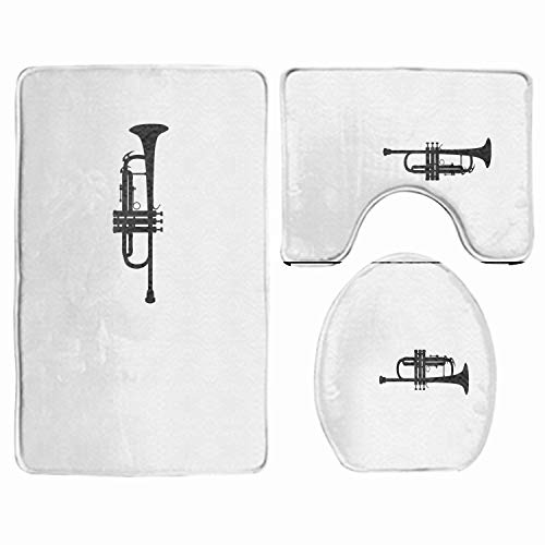 (3 Piece Bath Rug Set, Creative Orchestral Instruments  Bathroom Rug, Contour Mat with Lid Cover Non-Slip)