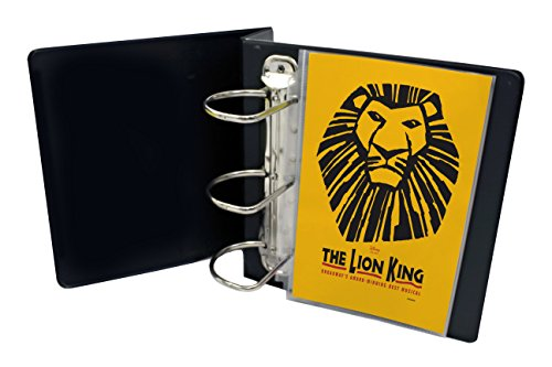 """My Broadway Binder: Includes 20 Sheet Protectors, Stylish Broadway Playbill Binder Organizer, 3.5"""" Spine Holds up to 25 Broadway Playbills, Mini Durable Binder, Black Vinyl with Gold Foil Lettering"""