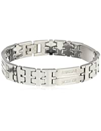Men's 0.50 cttw Stainless Steel and Tungsten Diamond Link Bracelet, 8.24""