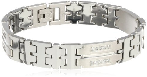 Men's 0.50 cttw Stainless Steel and Tungsten Diamond Link Bracelet, 8.24