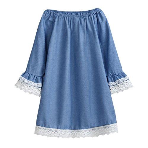 IGEMY Baby Mädchen Kleidung, lange Ärmel Spitze Party Kleid Blau