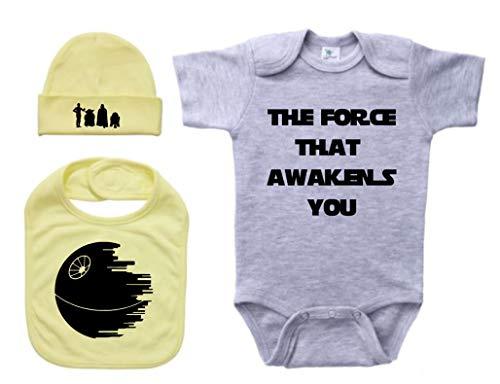 Ebenezer Fire Star Wars - Set de Regalo para bebé, diseño de recién Nacido, Color Gris, Yellow (Black Text), 18-24 Meses