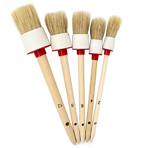 Proteove Natural Boar Hair Detail Brush, Detailing Brush Set for Cleaning Weels, Interior, Exterior, Leather