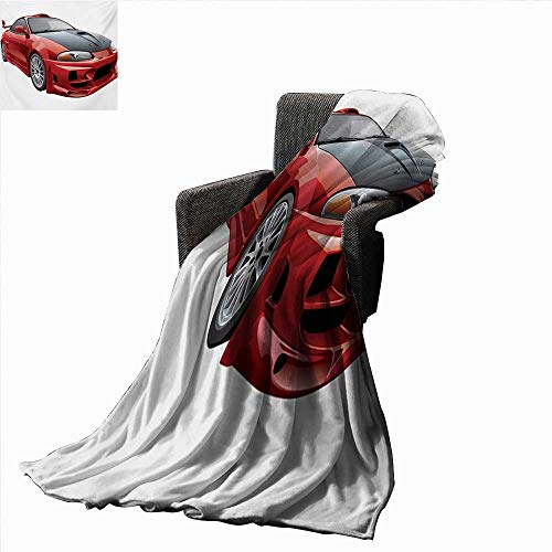 Cars Lightweight Blanket Customized Red Dragster Automobile in Graphic Style Speed Fast Vehicle Powerful,Super Soft and Comfortable,Suitable for Sofas,Chairs,beds