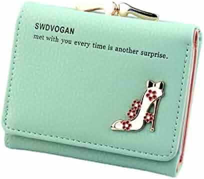 Clearance Wobuoke Fashion Women s Female Wallet Short High Heel Pattern Card  Wallets Purses c25fe4d2d129a