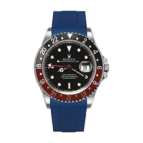 [ラバービー] RubberB ラバーベルト ROLEX GMTマスターII専用ラバーベルト(尾錠付き)(ブルー)※時計は付属しません(Watch is not included)[並行輸入品]  B01IK435GS