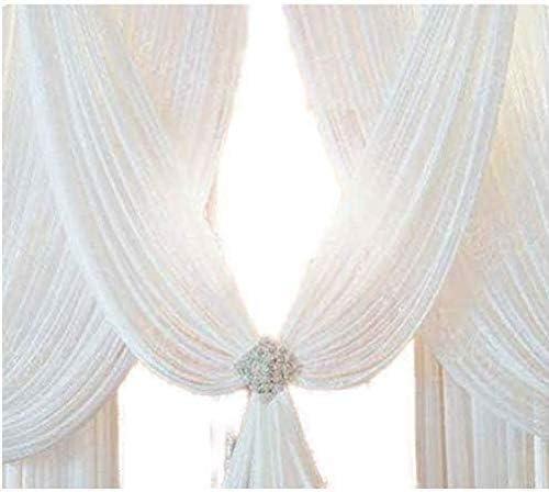 10 metres 280cm,Tissu Drap/é pour Arche Mariage, Voilage Voile Blanc Pur