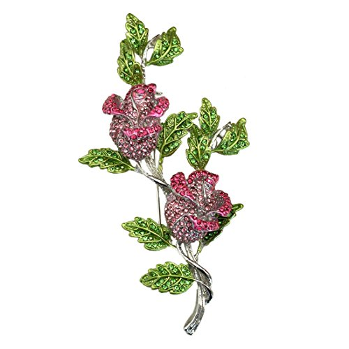SELOVO 4in Long Big Rose Flower Leaf Large Brooch Pin Gold Tone Green Pink Crystal