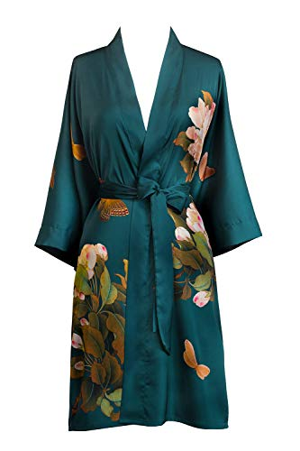 - Old Shanghai Women's Kimono Robe Short Watercolor Floral (Peony & Butterfly- Vintage Teal)