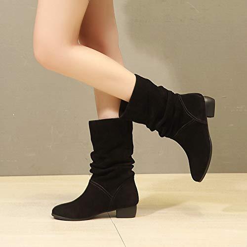 Stivaletti Martin Corti Black Piatto Boots Una Pu Con Sottile Femminile Fondo Stivali E Flip Punta Inverno Autunno Shukun g6xqwSS