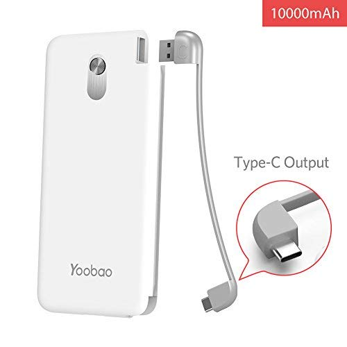 Yoobao Slim Portable Charger, 10000mAh Power Bank External Battery Pack Cell Phone Backup Charger with Built-in USB-C Cable Compatible Samsung S9+/S9, LG V30, OnePlus 6T, Google Pixel & More - White