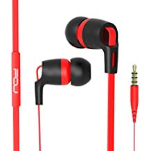 FOU Earbuds Earphones Headphones With Microphone Wired HIFI Stereo Bass In-ear Headsets With Inline Remote Control for iOS/ Android(Black/Red)