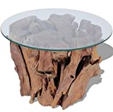 Solid Teak Wood Coffee Table – Fully Handmade Rustic Wooden Furniture Great for Living Room Or Office – Beautiful Natural Wood Side Table - Tea Stand with Tempered Glass Tabletop – Home Decoration