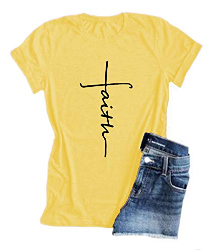 Mansy Women's Cross Faith T-Shirt Casual Short Sleeve Letters Printed Summer Graphic Tee Tops Yellow