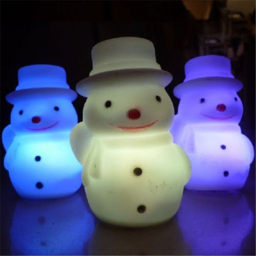 Kids Ornaments Snowman 7 Color Changing Night Light LED Lamp Cozy Christmas Gift bbkub (594 Mint)