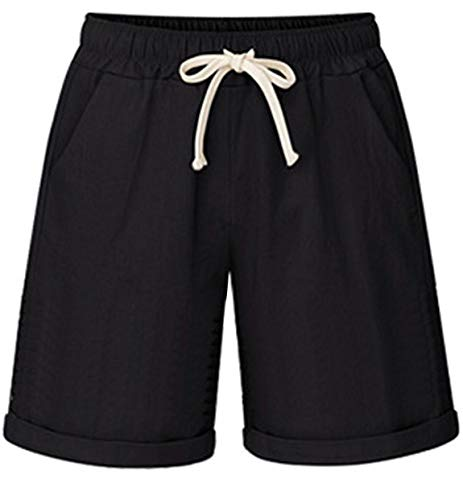 (HOW'ON Women's Elastic Waist Casual Comfy Cotton Beach Shorts with Drawstring Black M)