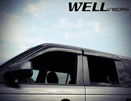 Replacement for 2006-2013 Land Rover Range Rover Clip-ON Chrome Trim Smoke Tinted Side Rain Guard Window Visors Deflectors 3-847LR004 by WellVisors (Image #2)