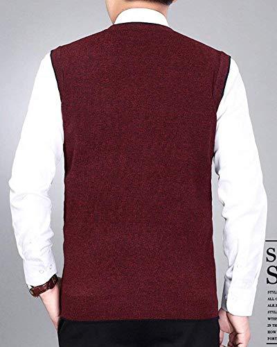 Réservoir Jacquard Veste Whiterot Breasted Sans Garçons Col V Classique Fit Manches Gilet Vestes Mode En Patte Hommes Tricot Slim Enx7AHU5