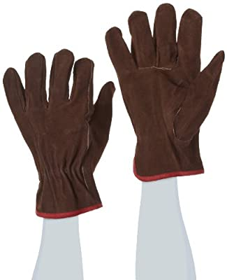West Chester 81456 Split Cowhide Leather Unlined Driver Glove, Work, Shirred Elastic Wrist Cuff, (Pack of 1 Pair)