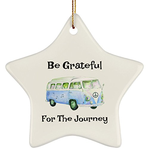 Epicura Be Grateful for The Journey Hippie Bus Christmas Tree Ornament Star