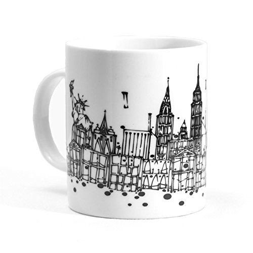NYC Skyline Ceramic Coffee Mug with unique artwork of Adam Palmeter featuring STATUE of LIBERTY - EMPIRE STATE BUILDING - FREEDOM TOWER - LIMITED SUPPLY! ORDER TODAY!