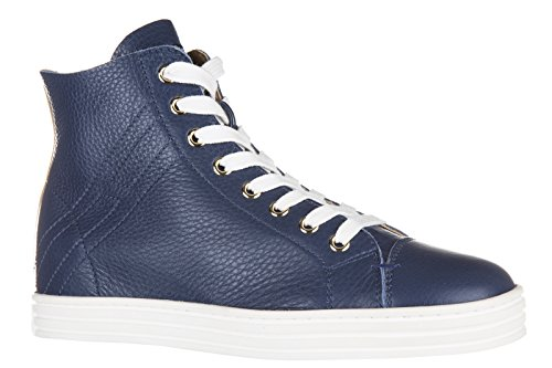Hogan Rebel Zapatos De Mujer High Top Leather Trainers Sneakers R182 Sfoderato Blu