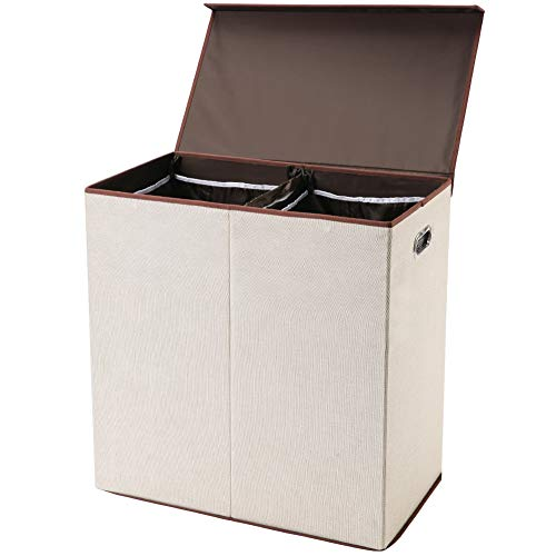 (SUPERJARE Double Laundry Hamper/Sorter with Removable Liners & Magnetic Lid, Collapsible Clothes Basket, Built-in Handles for Easy Carrying, 2 Dividers, Linen Cream)