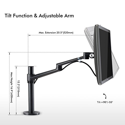 UPERGO Single Computer Monitor Desk Mount Stand Fits up to 32'' Computer Monitor Screen,Height Adjustable Monitor Mounting with 17.6lbs Capacity,Swivel LCD Monitor Mount Arm with Clamp,Grommet (OL-1) by UPERGO (Image #3)