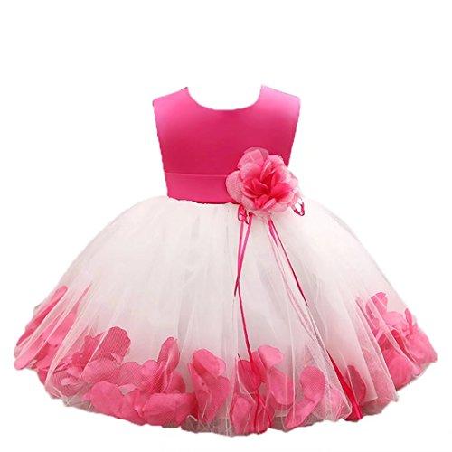ZaH Baby Girl Dress Christening Baptism Gowns Sequined Formal Dress(Hot Pink,12-18M) (Christening Gowns Designer)