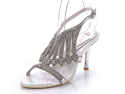 Sandals Slippers Silver Fashion Rhinestone Doris Women's Glitter Wedding Dress Shoes Summer 47BwZqT