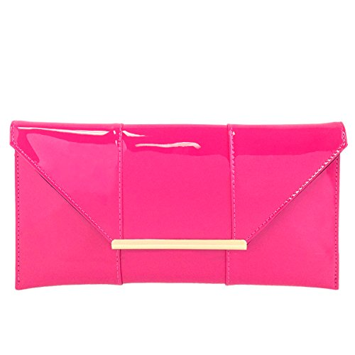 Faux Patent Leather Envelope Candy Clutch, Fuchsia ()