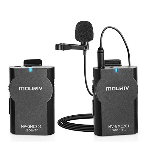 MOURIV MV-GMC201 2.4G Wireless Lavalier Microphone System Compatible with iPhoneX 8 8 Plus 7 6 Smartphone,Canon 6D 600D Nikon D800 D3300 Sony A7 A9 DSLR GoPro Hero4 Hero3 Hero3+ Action Cameras ()