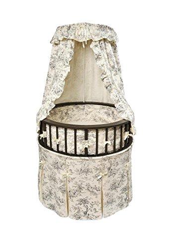 Cotton Toile Bassinet - Badger Basket Elegance Round Baby Bassinet, Black with Black Toile