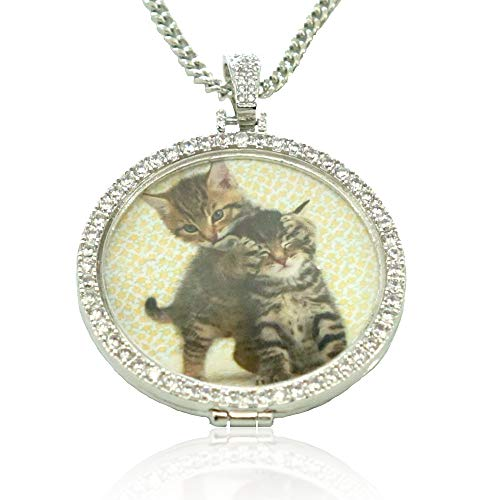 (Dream Fly Personalized Photo Necklace Custom Photo Pendant Personalized Locket Necklace Gold Silver Hip Hop Jewelry with Cubic Zirconia for Men and Women, 18in, 20in, 24in and 30in Chain (Silver, 18))