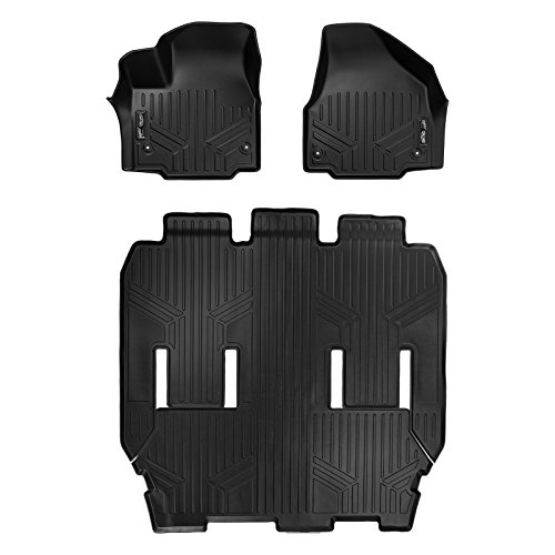 MAX LINER A0232/B0291 Custom Floor Mats 3 Row Liner Set Black for 2017-2019 Chrysler Pacifica 7 or 8 Passenger (No Hybrid Models)