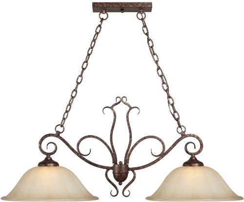 Forte Lighting 2316-02-21 Pendant with Umber Sand Glass Shades, Rustic Spice 21 Rustic Spice