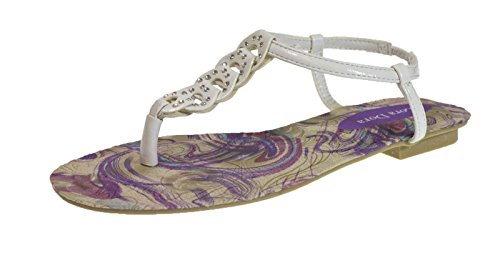 Lora Dora Womens Diamante Sandals Faux Leather Strappy Shoes Size UK 3-8 White