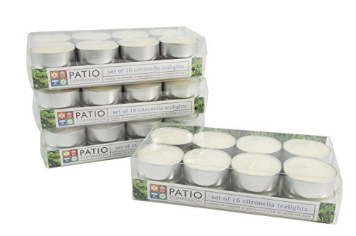 Patio Companion P09646 Citronella Outdoor Tealight Candles / 64 Pack All Natural Insect Repellent