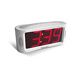 LED Digital Alarm Clock - Outlet Powered, No Frills Simple Operation, Large Night Light, Alarm, Snooze, Full Range Brightness Dimmer, Big Red Digit Display, White