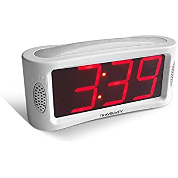 Travelwey LED Digital Alarm Clock - No Frills Simple Operation, Large Night Light, Alarm, Snooze, Brightness Dimmer, Big Red Digit Display (White)