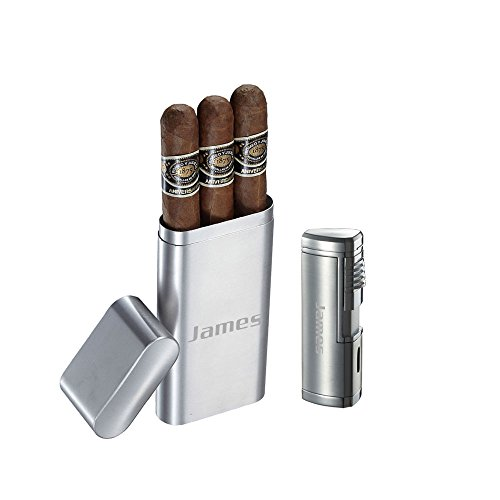 (Visol Prato Brushed Stainless Steel 3 Finger Cigar Case and Visol Pyrgos Quad Flame Torch Lighter With Free Laser Engraving)