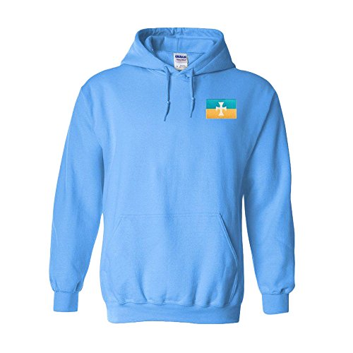 Express Design Group Sigma Chi Flag Patch Hooded Sweatshirt Medium Light Blue